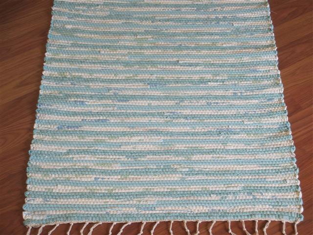 Aqua, White 2 x 3 ft. Kitchen And Bath Rug