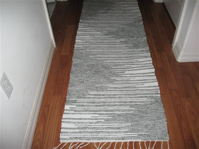 Grey, White Runner