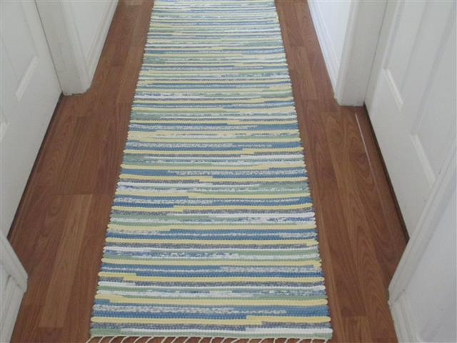 Blue, White, Yellow, Green Runner
