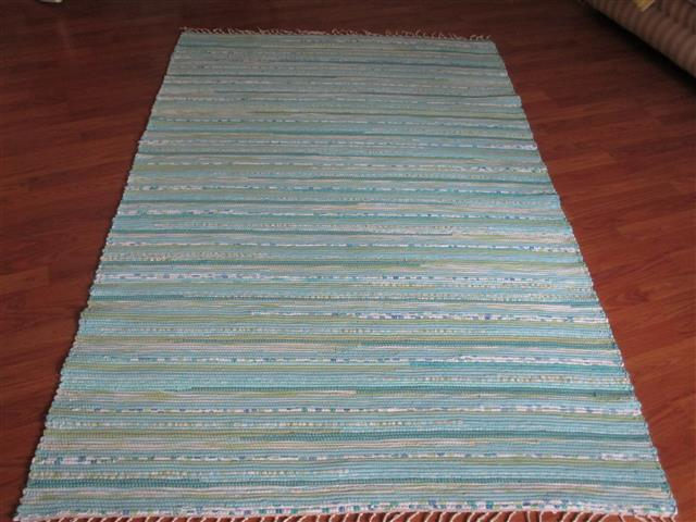 Aqua, White, Green 4 x 6 ft. Area Rug