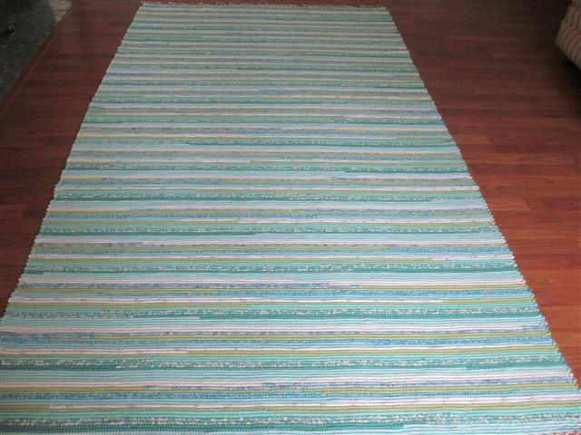 Aqua, White, Green 5 x 8 ft. Area Rug